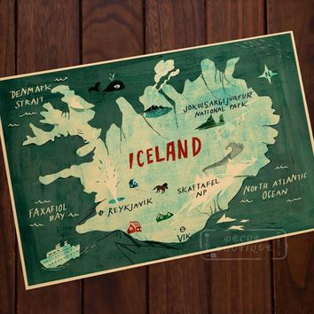 Iceland Map Illustration Typography Map Beauty Art Vintage Retro Canvas Frame Poster DIY Wall Home Posters Home Decor Gift