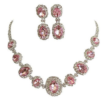Light Pink Regal Statement Rhinestone Crystal Bridal Bridesmaid Necklace Earring Set Silver Tone G6