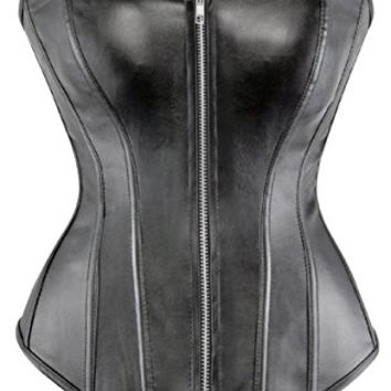 lttcbro Women's Faux Leather Corset Bustier Top Strapless Plus Size