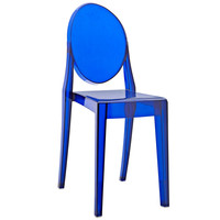Philippe Starck Style Victoria Ghost Side Chair Clear Blue