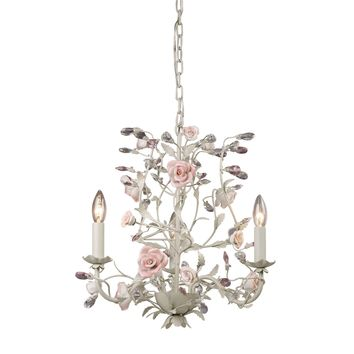 8091/3 Heritage 3 Light Chandelier In Cream With Pink Porcelain Accents