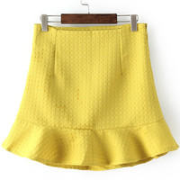 All Yellow Plaid Ruffle Bodycon Skirt