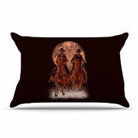 "BarmalisiRTB ""Come At Night"" Brown Orange Pillow Case"