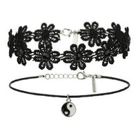Flower And Yin Yang Choker Set - Black