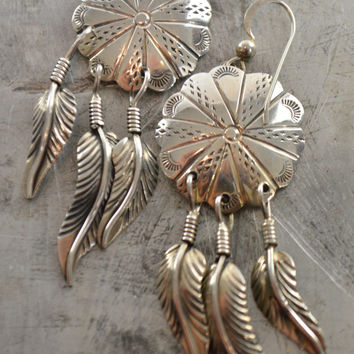 Native American Earrings Round Dangling Sterling Silver Dream Catcher