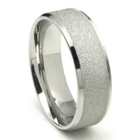 8MM 316L Stainless Steel Sparkle Finish Beveled Men's Wedding Band Ring
