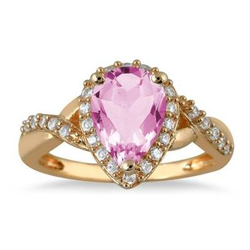 1.50 Carat Pear Shape Pink Topaz and Diamond Ring in 10K Yellow Gold