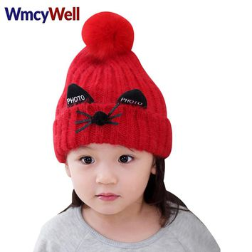 WmcyWell Winter Hat For Kids Knit Beanie Winter Hat Cat Ear Pattern Crochet For Children Warm Hat Cap With Ball Decor Hat Beanie