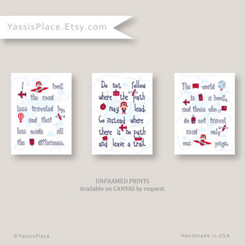 Airplane Nursery Art for boy, Baby Boy Nursery Decor in Red, Navy, Blue, Aviation Kid Wall Art,Travel art, 8x10, 11x14, 16x20 by YassisPlace