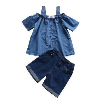 Fashionable Mom and Daughter Family Matching Outfits Mother Baby Girls Family Sets 2Pcs Off Shoulder Tops+Denim Shorts