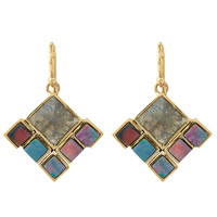 Nak Armstrong Gold Blue Boulder Opal Labradorite Drop Earrings | Jewellery | Liberty.co.uk