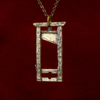 French Guillotine Pendant Necklace in Solid Bronze