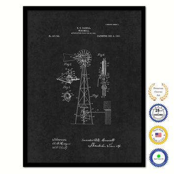 1906 Farming Windmill Vintage Patent Artwork Black Framed Canvas Home Office Decor Great for Farmer Milk Lover Cattle Rancher
