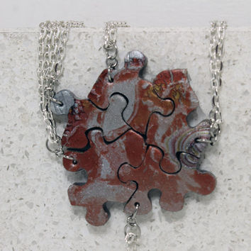 Puzzle Pieces Necklace Set of 5 Multi Metallic Mix Best Friend Pendants Polymer Clay