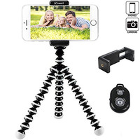 3Csmart Octopus Style Portable and adjustable Tripod Stand Holder for iPhone, Cellphone ,Camera with Universal Clip and Remote (Black White)