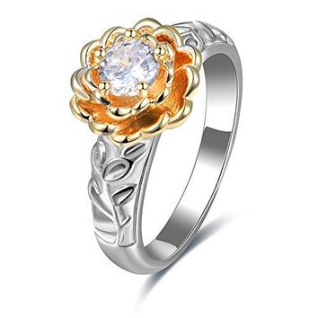 Tidoo Jewelry Womens Gold Plated Cubic Zirconia CZ Flower Eternity Ring Engagement Wedding Band