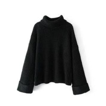 'Retta' Black Ribbed Cropped Turtleneck Sweater