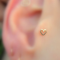 Tragus/Nose Ring/Cartilage Earring 14K Yellow Gold Filled Valentine Heart