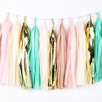 Blush and Mint Romance Tassel Garland - Tissue Paper Tassel Garland - Blush Pink, Gold, Mint - Party Decoration // Wedding Tassels // Nurser