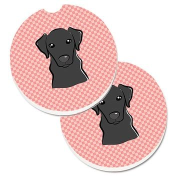 Checkerboard Pink Black Labrador Set of 2 Cup Holder Car Coasters BB1235CARC