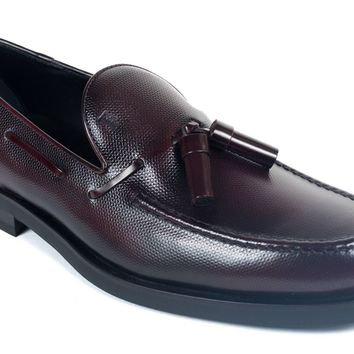Tod's Men's Burgundy Leather Tassel Slip On Loafers