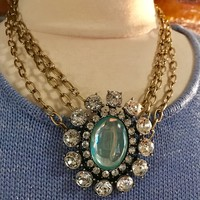 Bold 90's Glamour Faux Moonstone & Ice Rhinestone Statement Choker Necklace with contrasting Punky Triple Goldtone Chains