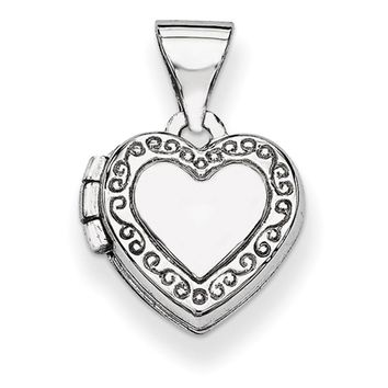 14kt White Gold Scroll Border Double Photo Girls Locket Pendant
