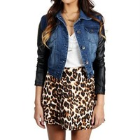 Dark Denim Jacket With Faux Leather Sleeves