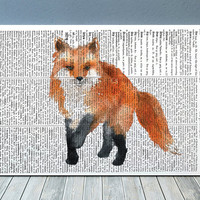 Fox poster Dictionary print Wildlife print Animal decor RTA1896