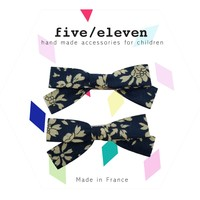 Five / Eleven Hairclip Liberty Bow H Floral Navy