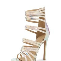 Shoe Republic Caged Iridescent Heels