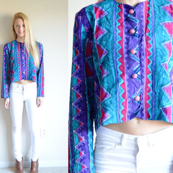 Vintage Tribal Print Crop Cardigan Colorful Blue Purple Pink Aztec Retro Bell Sleeve Crop Jacket Long Sleeve Hipster Outerwear Small Sm S