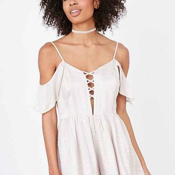 Kimchi Blue Lilac Off-The-Shoulder Romper