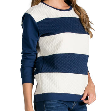 Quilted Stripe Sweatshirt