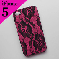 iPhone Case 5 - Black Lace over Pink iPhone 5 Case