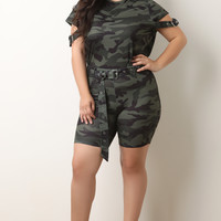 Belted Camo Crop Top with Biker Shorts Set | UrbanOG