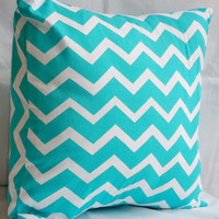 Teal Chevron Print Decorative Pillow (14x14, 12x12, 30x20 inch)