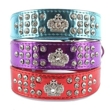 New Doggy Bling Leather Crown Crystal Diamond Necklace Small Dog Cat Pet Collar High Quality Studded Neck Collar Adjustable