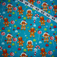Christmas fabric with gingerbread men man lollipop sucker candy blue cotton quilt quilting sewing material to sew by the yard crafting trees
