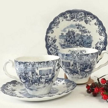 2 Johnson Bros Teacups and Saucers, Blue and White Coaching Scenes, Hunting Country, English Ironstone, Vintage Kitchen