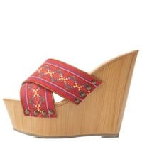 Multi Tribal Print Crisscross Mule Wedges by Charlotte Russe
