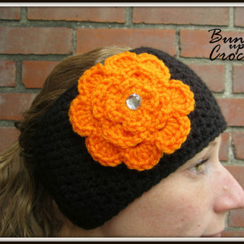 Crochet Headband Earwarmer Accessory Warm for Fall Winter with Flower Orange Black Christmas Gift Cincinnati Bengals Tigers OSU Beavers