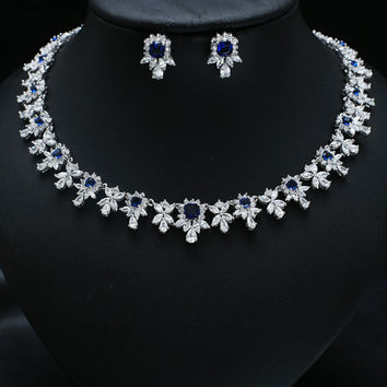 Blue Platinum Plated AAA Cubic Zircon Jewelry Set