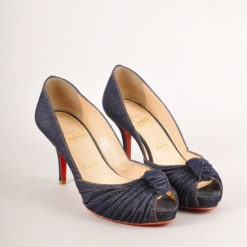 KUYOU Blue Denim Ruched  Greissimo 85  Peep Toe Pumps