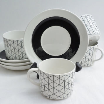 Rorstrand Sweden Venezia 4 Cups and Saucers Mid by AtomicAlley