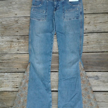 Sz 5 Hollister Bell Bottoms with Extra Soft Mint Chocolate Tapestry flares Handmade by The Hippie Patch