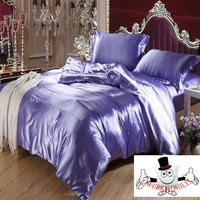 Violet Luxurious Smooth Shiny Mulberry Silk Duvet Bedding Set and Quilt Cover