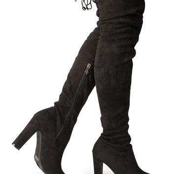 Thigh High Boots in Black Suede
