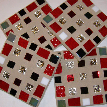 Red Black Silver Stained Glass Coasters / Multicolor Coaster /  Mosaic Coaster / Glass Coaster / Mother's Day / Unisex Coaster