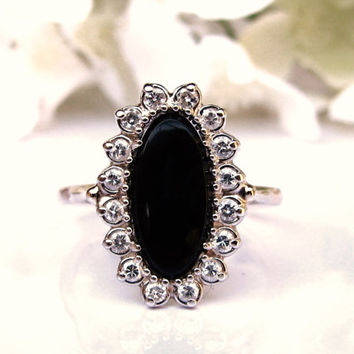 Elegant Onyx and Diamond Vintage Engagement Ring 14K Two Tone Gold 0.48ctw Diamond Wedding Ring Size 6.5